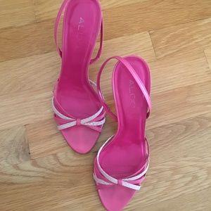 ALDO Shoes - ALDO Strappy Slingback Heels Sandals Pink 2-tone